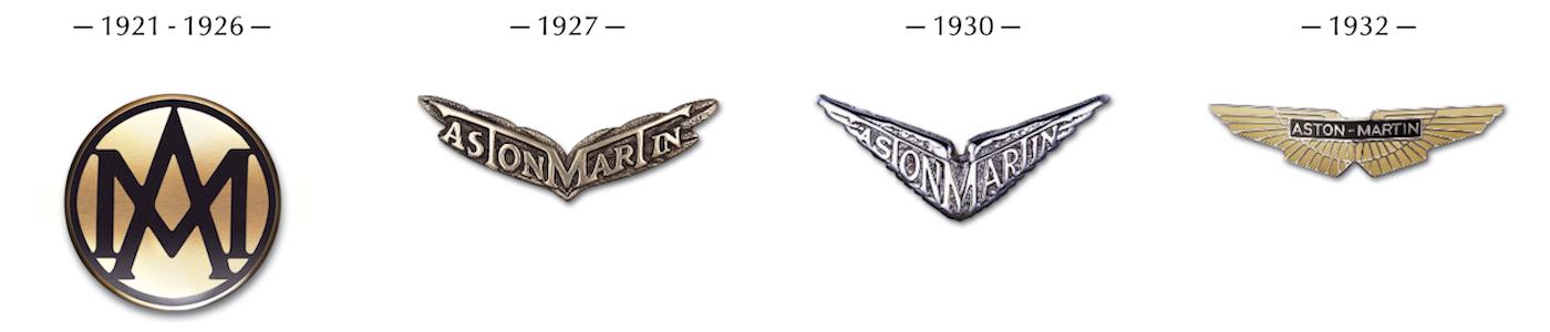 Aston Martin logos from 1921 to 1932