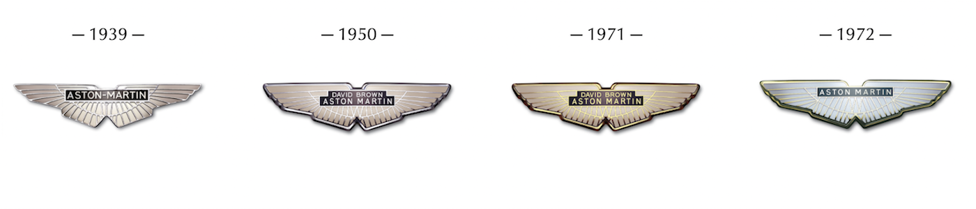 Aston Martin logos from 1939 to 1972