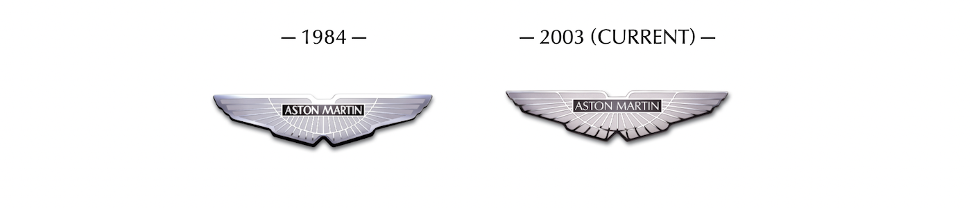 Aston Martin logos from 1984 to present day