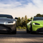 Aston Martin Vantage models driving next to one another