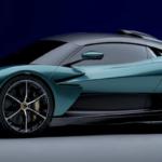 Turquoise 2024 Aston Martin Valhalla parked