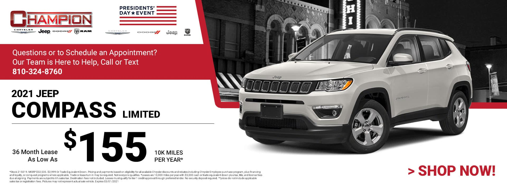 2021 Jeep Compass Limited - Lease