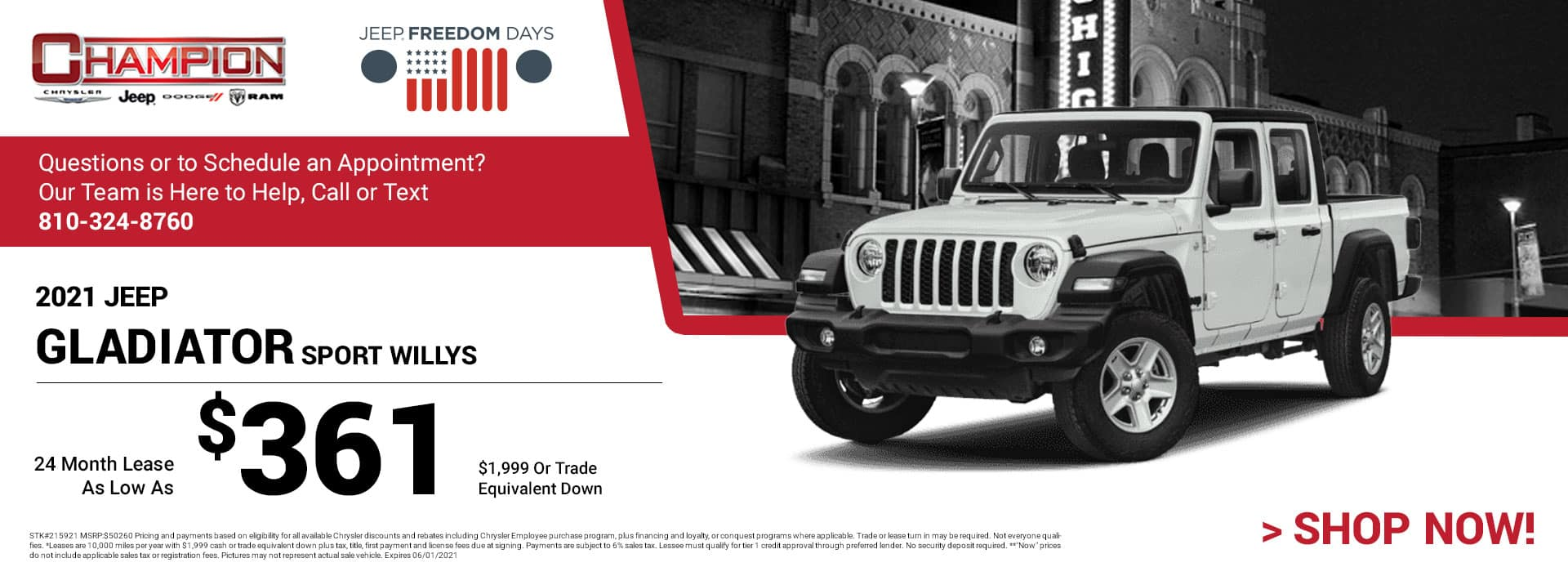 2021 Jeep Gladiator Sport Willys 215921 $50,260 $1,999 or Trade Equivalent Down 24 $361
