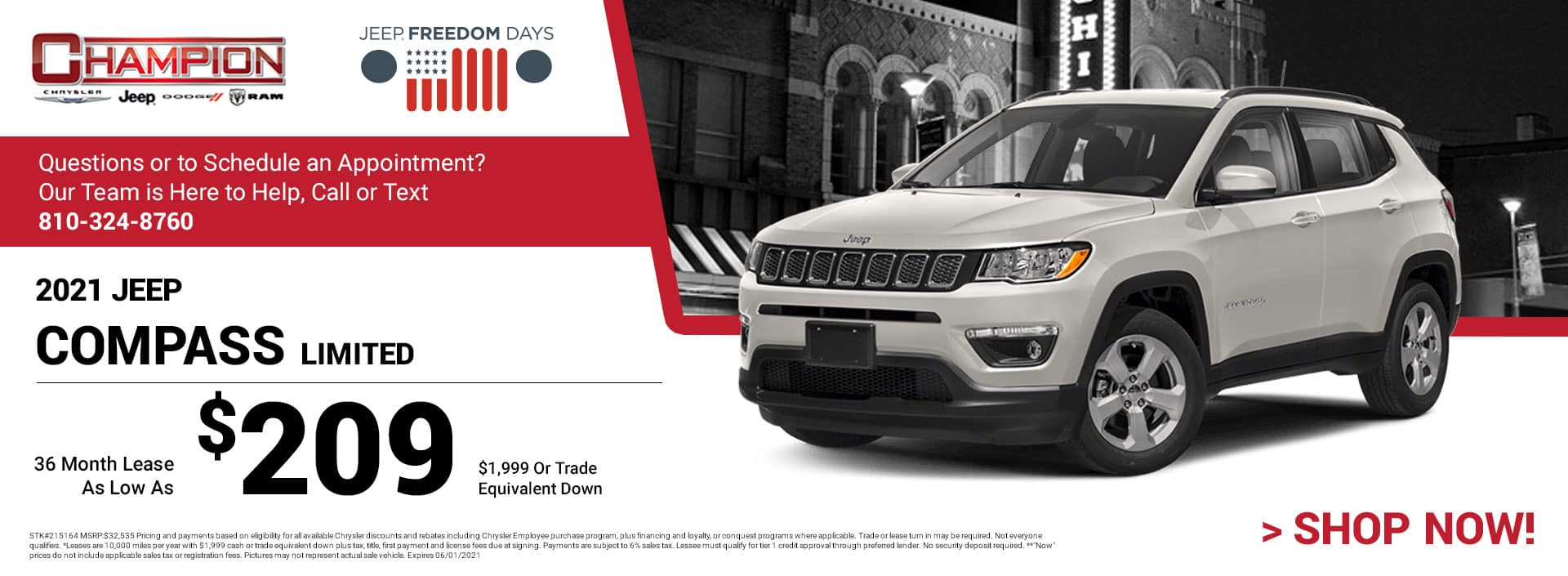 2021 Jeep Compass Limited 215164 $32,535 $1,999 or Trade Equivalent Down 36 $209