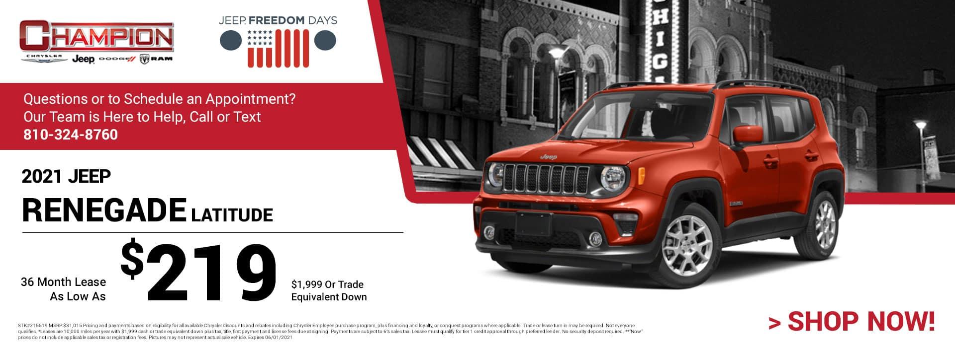 2021 Jeep Renegade Latitude 215519 $31,015 $1,999 or Trade Equivalent Down 36 $219