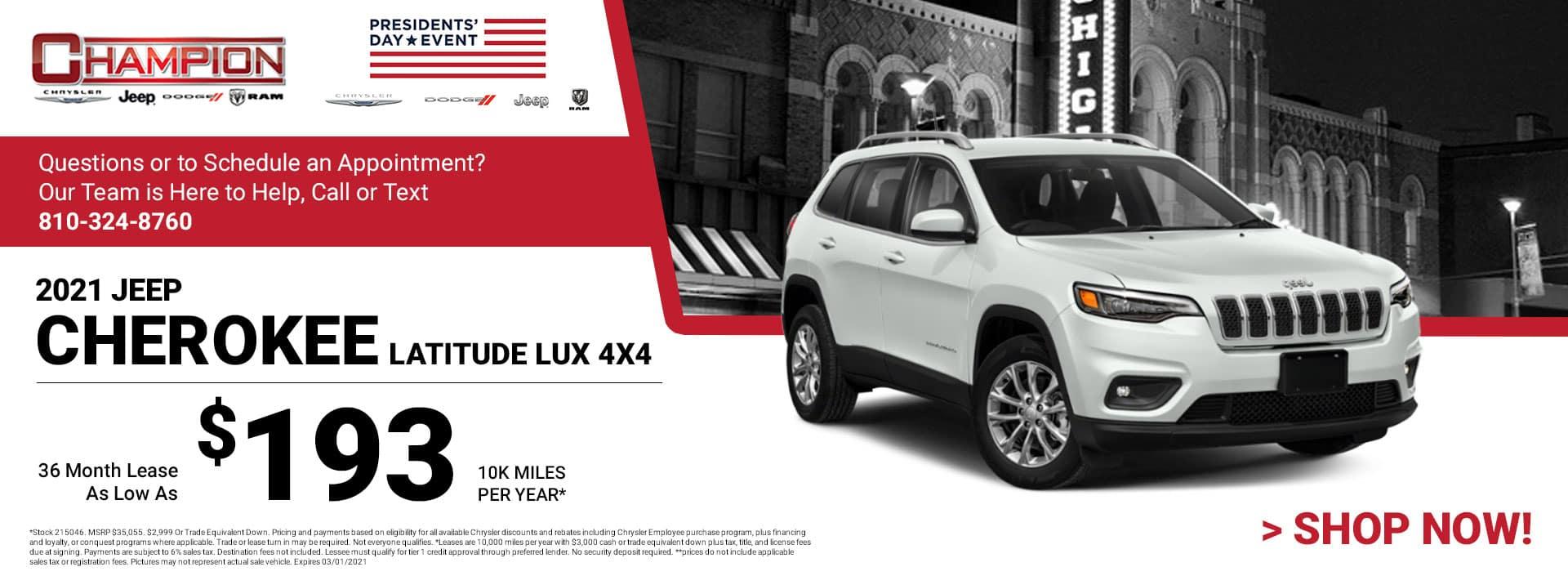 2021 Jeep Cherokee Latitude 4x4 - Lease