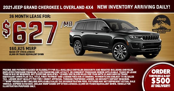 2021 Jeep Grand Cherokee L Overland Limited 4x4 Lease Offer