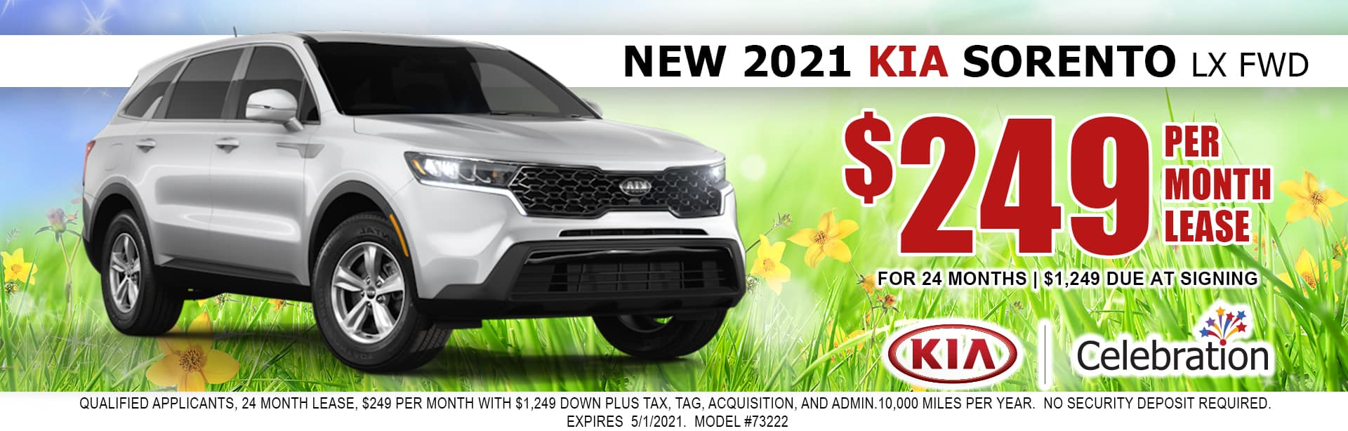 2021 Kia Sorento lease for $249/mo
