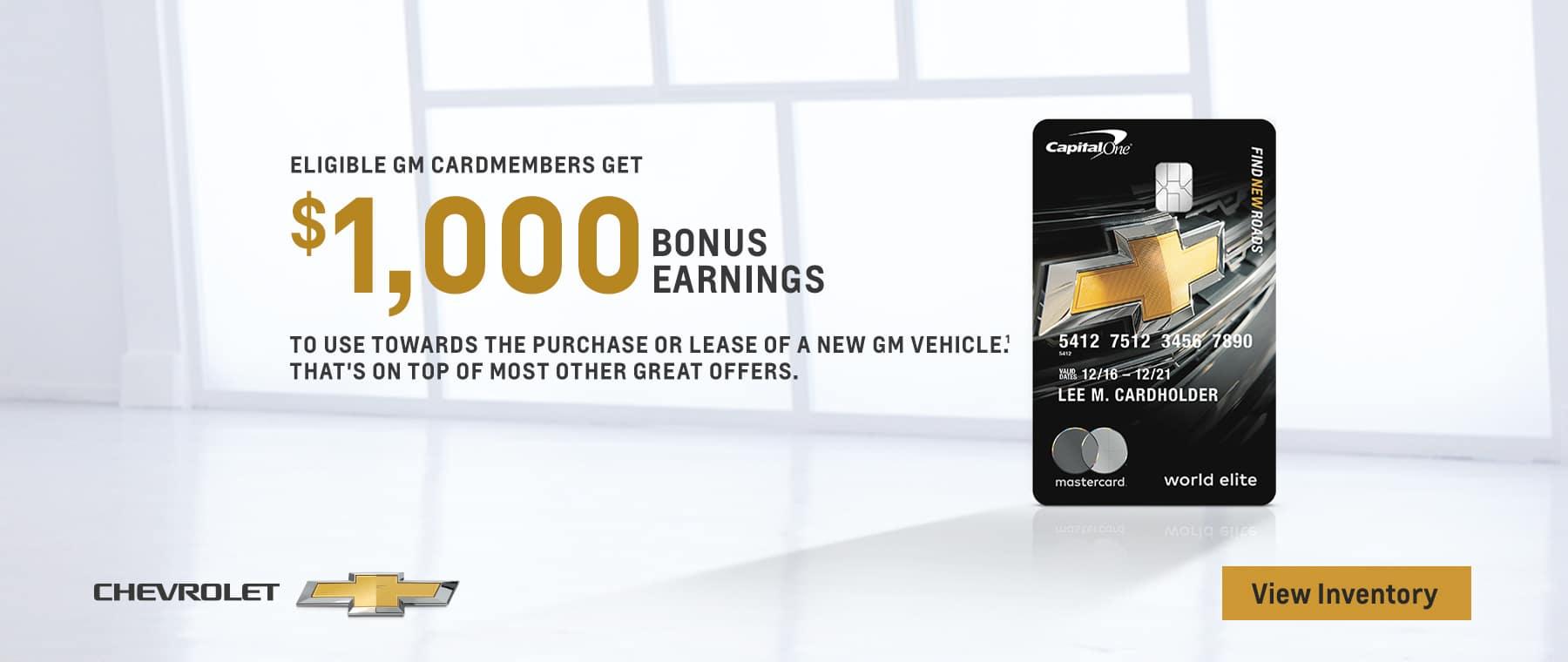 Eligible GM cardmembers get 1000 bonus earnings