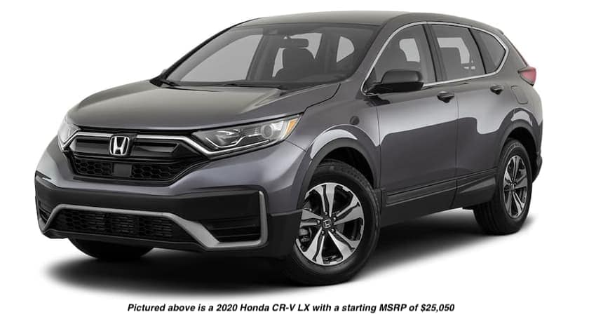 A dark grey 2020 Honda CR-V LX is facing right.