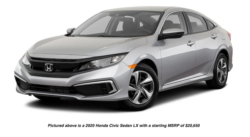 A silver 2020 Honda Civic Sedan LX is facing left.