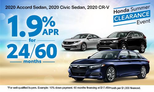 1.9% APR for 24/60 Months on a 2020 Accord Sedan, 2020 Civic Sedan, 2020 CR-V