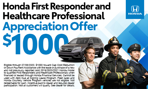 Honda First Responder and Healthcare Professional Appreciation Offer