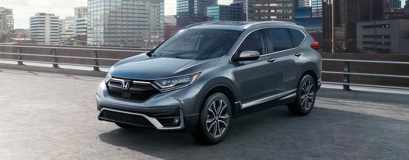 A gray 2020 Honda CR-V from a Honda dealer near you, is parked on a parking garage near Atlanta, GA.