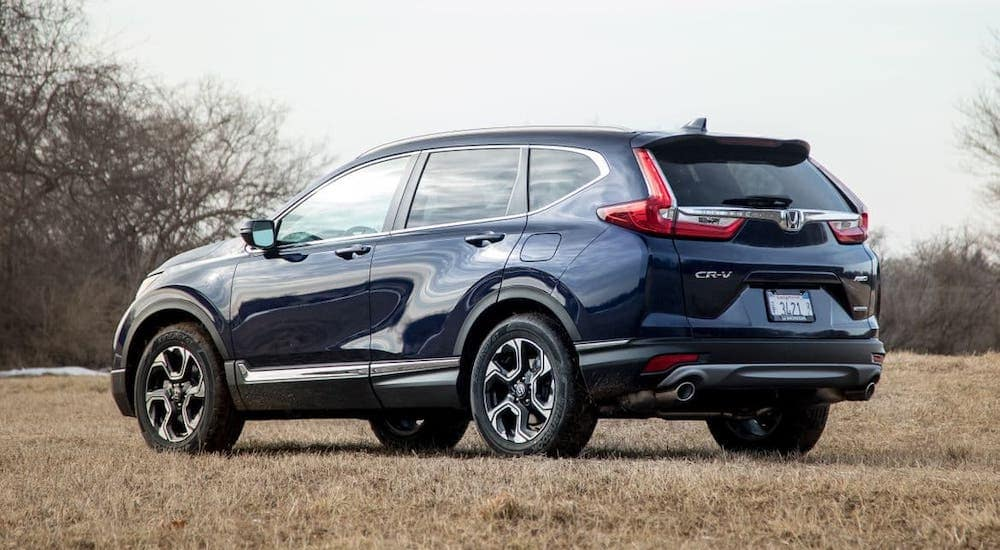 A blue 2019 Honda CR-V is facing away and parked in a field.