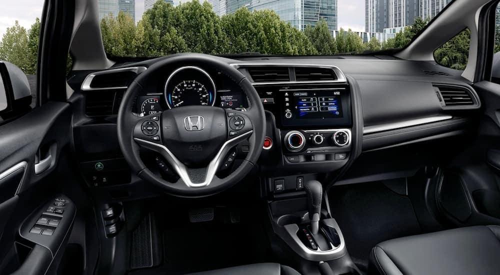 The black interior of a 2020 Honda Fit EX-L is shown.