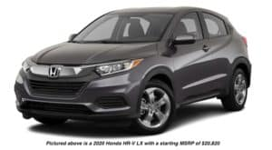 A dark grey 2020 Honda HR-V LX is angled left.