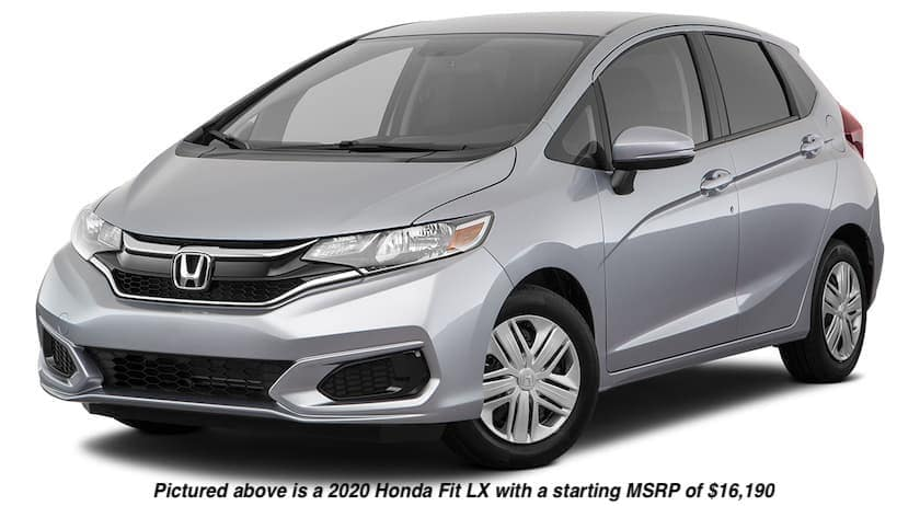 A silver 2020 Honda Fit LX is angled left.