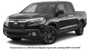 A black 2020 Honda Ridgeline Sport is angled left.