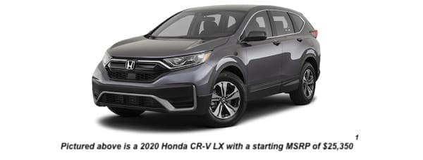 A dark gray 2020 Honda CR-V LX is angled left.
