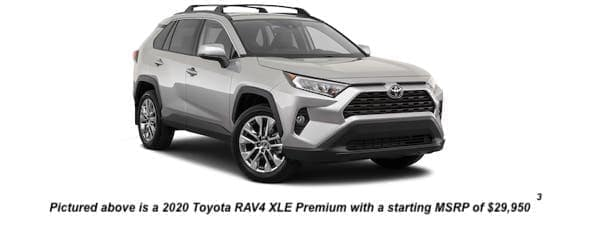 A silver 2020 Toyota RAV4 XLE Premium is angled right.