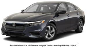 A black 2021 Honda Insight EX is angled left.