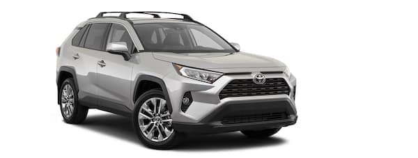 A silver 2021 Toyota RAV4 is angled right.