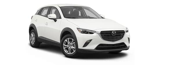 A white 2021 Mazda CX-3 is angled right.