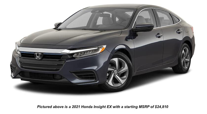 A black 2021 Honda Insight EX is angled left on a white background.