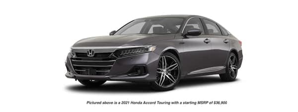 A dark grey 2021 Honda Accord Touring is angled left.
