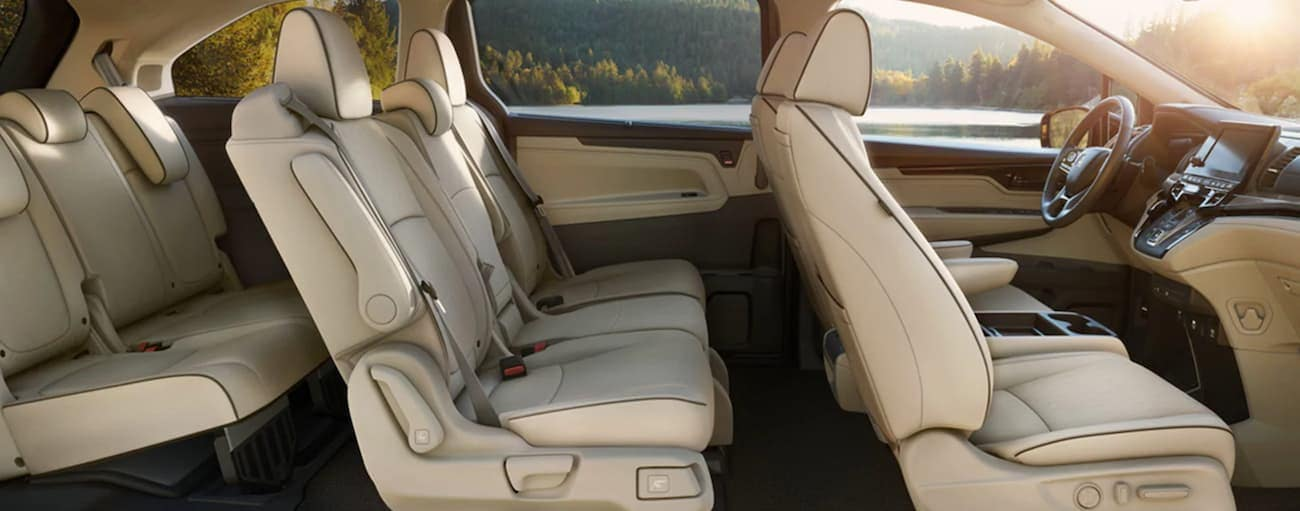 The cream interior of a 2022 Honda Odyssey Elite is shown from the side.