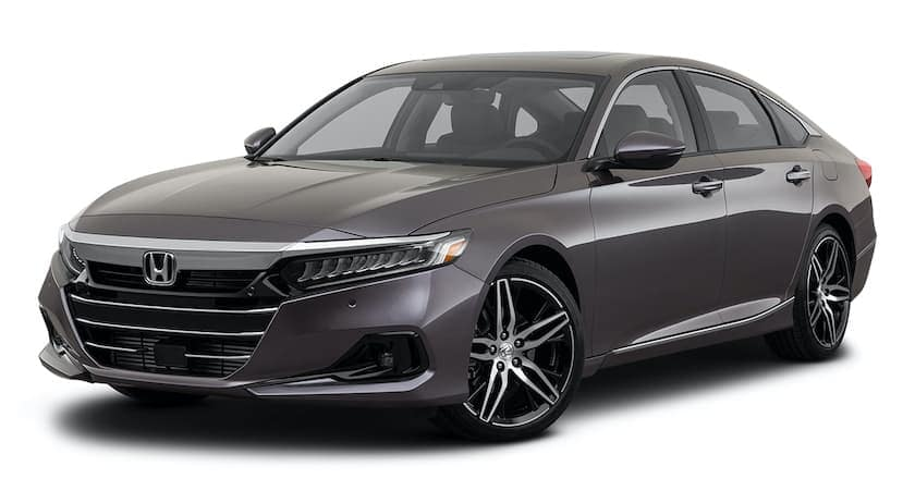 A dark grey 2021 Honda Accord is angled left.