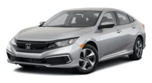 A silver 2021 Honda Civic is angled left.