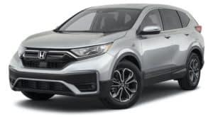 A silver 2021 Honda CR-V EX is angled left.