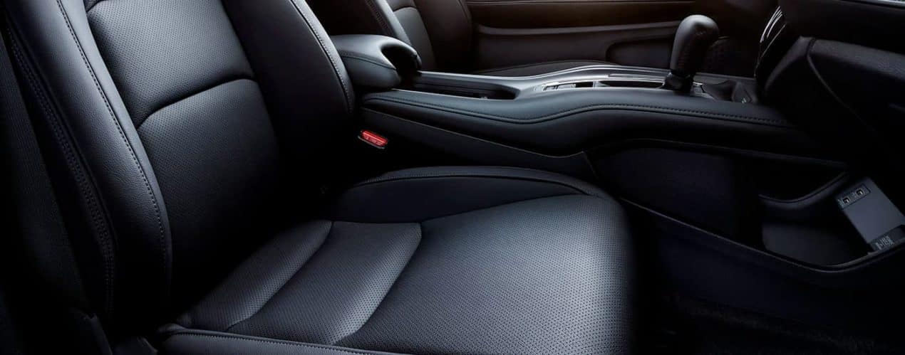 A close up shows the front leather seats in a 2021 Honda HR-V EX.