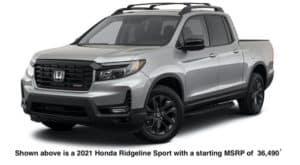 A grey 2021 Honda Ridgeline Sport is shown