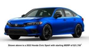 A blue 2022 Honda Civic Sport is angled left.