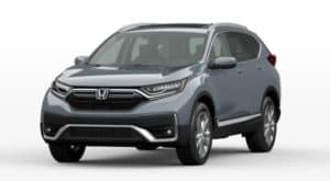 A blue 2022 Honda CR-V Touring is shown from the front angled left.