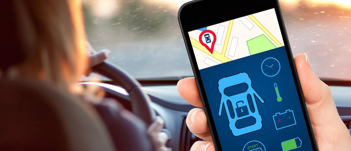 Person using car app, like Homelink