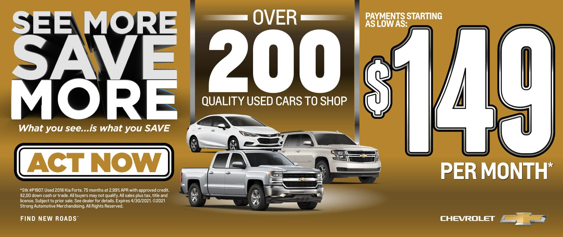 Over 200 used cars to shop with payments starting as low as $149 per month   Act Now