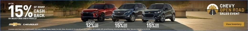 July chevy open road sales event banner fifteen percent cash back on select 2020 Chevy models