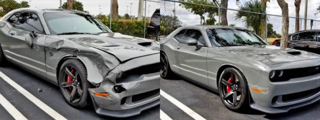 Damaged Car side by side with repaired car