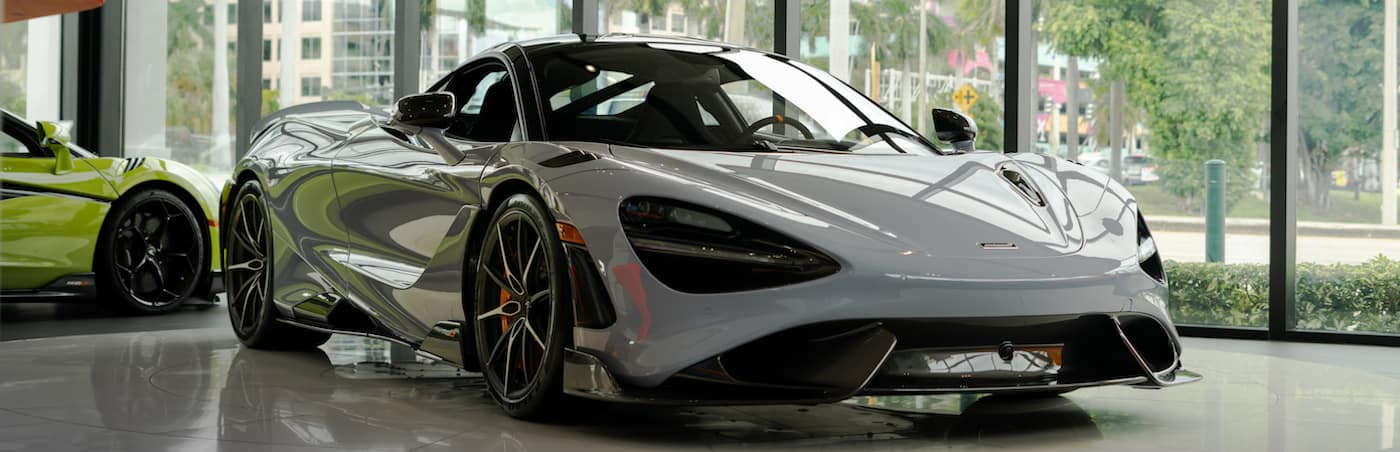 Gray 765LT parked in showroom