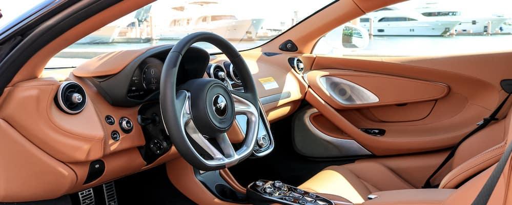 2020 McLaren GT steering wheel and front seat area