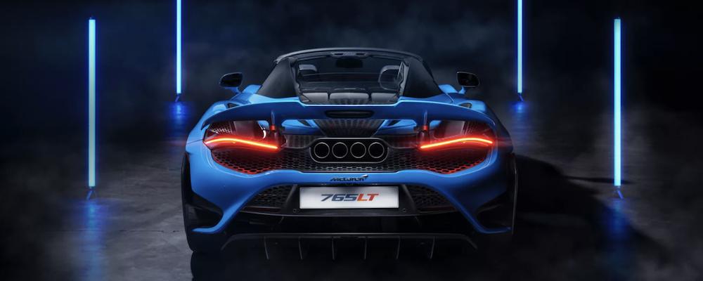 Blue McLaren 765LT Spider rear exterior