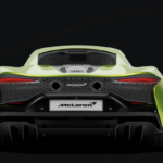 Rear view of green 2022 McLaren Artura