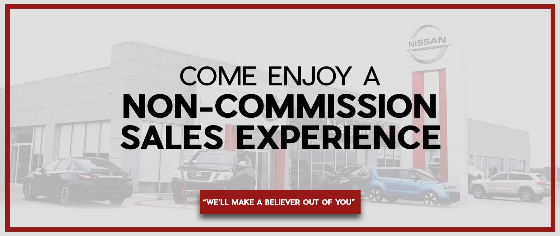 Non Commission Sales Experience banner desktop