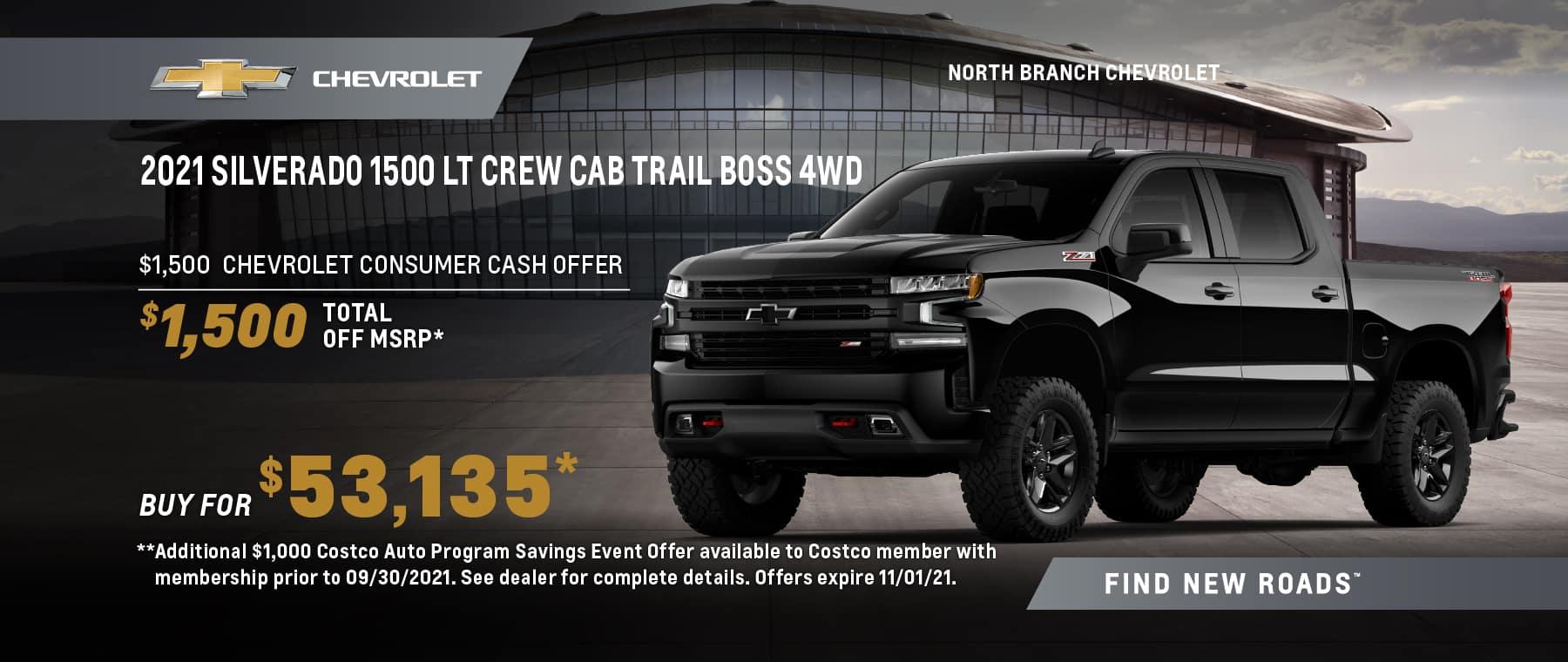 2021 CHEVROLET SILVERADO 1500 CREW CAB LT TRAIL BOSS 4WD