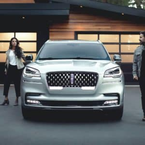2020 Lincoln Aviator Front View with Man and Woman