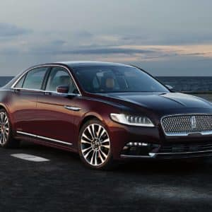 2020 Lincoln Continental is shown as it illuminates the headlights taillamps
